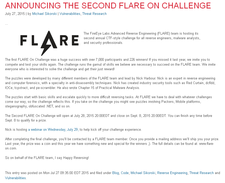 BYTE* / FLARE-On Challenge 2015 / 2nd Annual Contest Tutorials