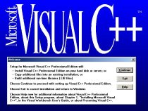 Microsoft Visual C++ 1.0 Professional Setup Screen (16-bit)