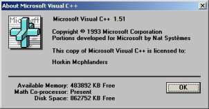 Microsoft Visual C++ 1.51 About Box (16-bit)
