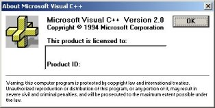 Microsoft Visual C++ 2.0 About Box