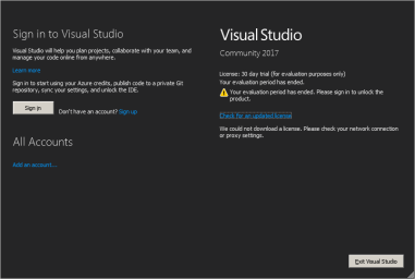 Visual Studio 2017 Expiration Dialog