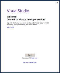 Visual Studio 2017 Post-Installation Dialog