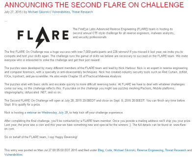 FLARE-On 2015 Kickoff Announcement