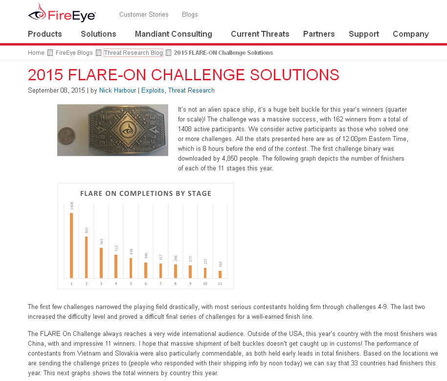 FLARE-On 2015 Results part 1